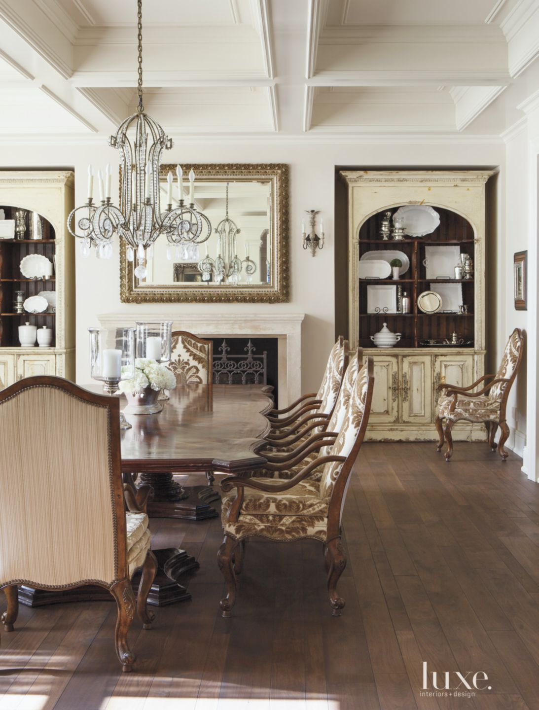 Traditional White Dining Room with Coffered Ceiling