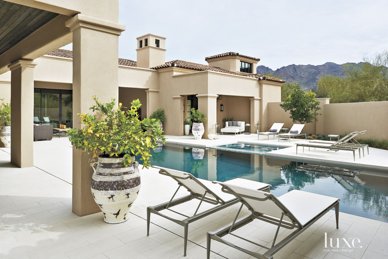 Mediterranean Neutral Pool Area with Citrus Trees