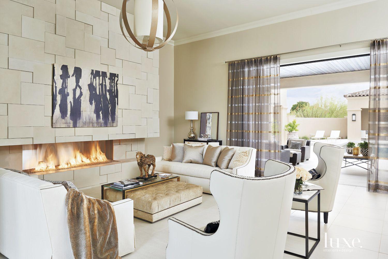 Mediterranean Neutral Living Room with Custom Globe Chandelier