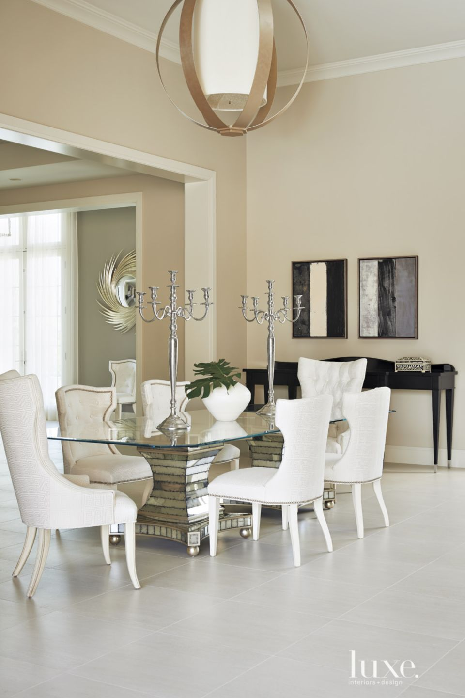 Mediterranean Neutral Dining Room with Candelabras