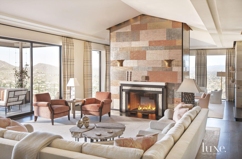 Contemporary Neutral Living Room with Églomisé Panels