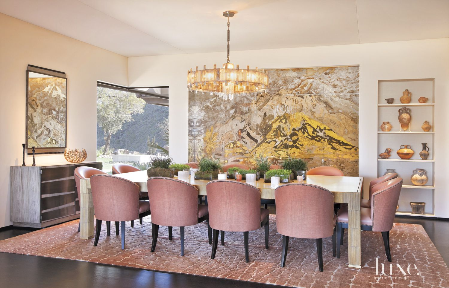 Contemporary Neutral Dining Room with Abstract Screen Art