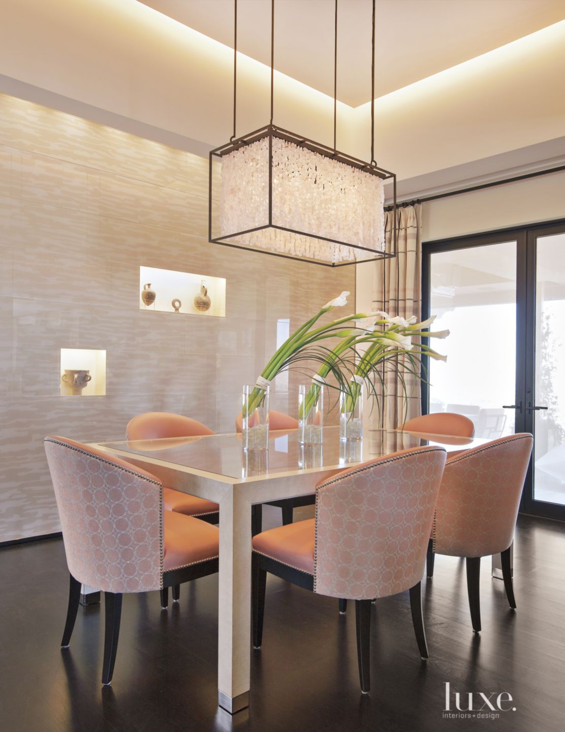 Contemporary Pink Breakfast Area with Palestinian Antiques