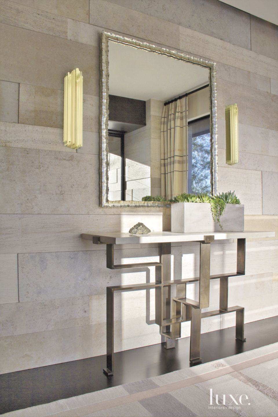 Contemporary Neutral Entry with Geometric Console