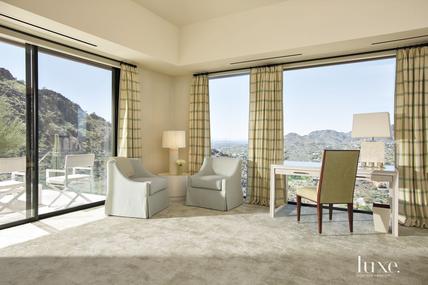 Contemporary Neutral Guest Bedroom with Plaid Curtains