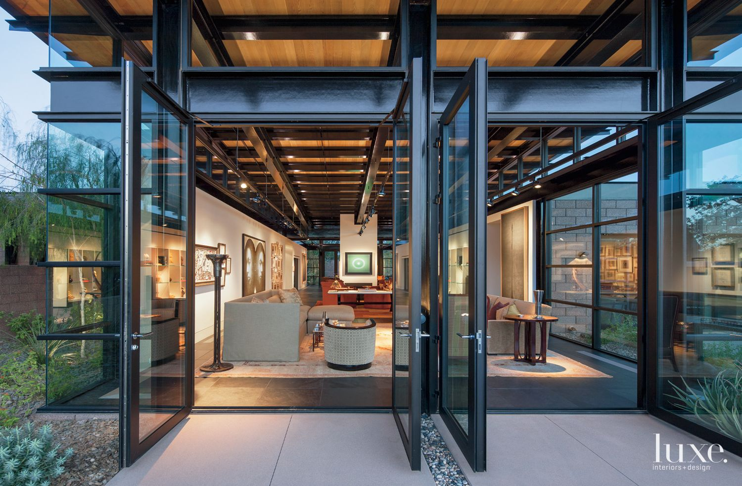 Modern Entrance with Large Glass and Steel Doors