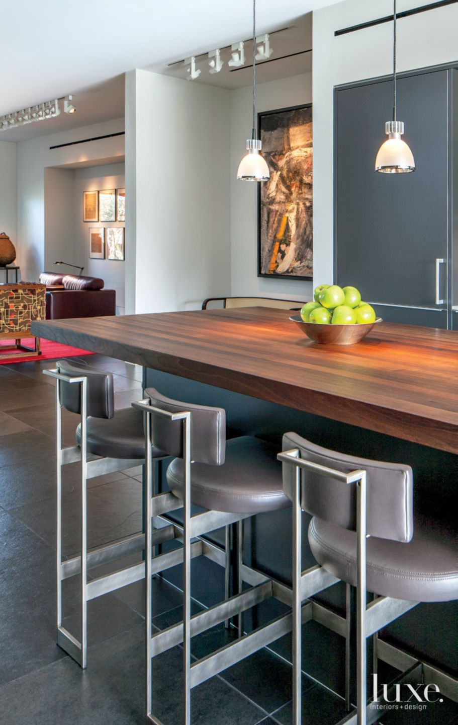 Contemporary Neutral Kitchen with Butcher Block Island