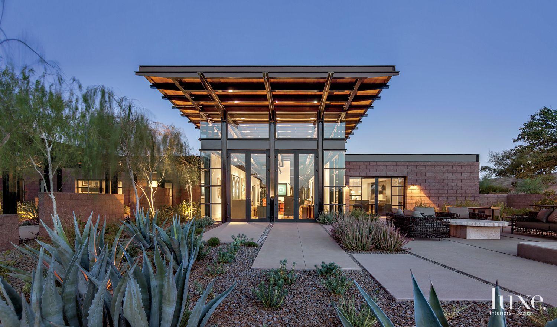 Modern Front Elevation with Desert Landscape
