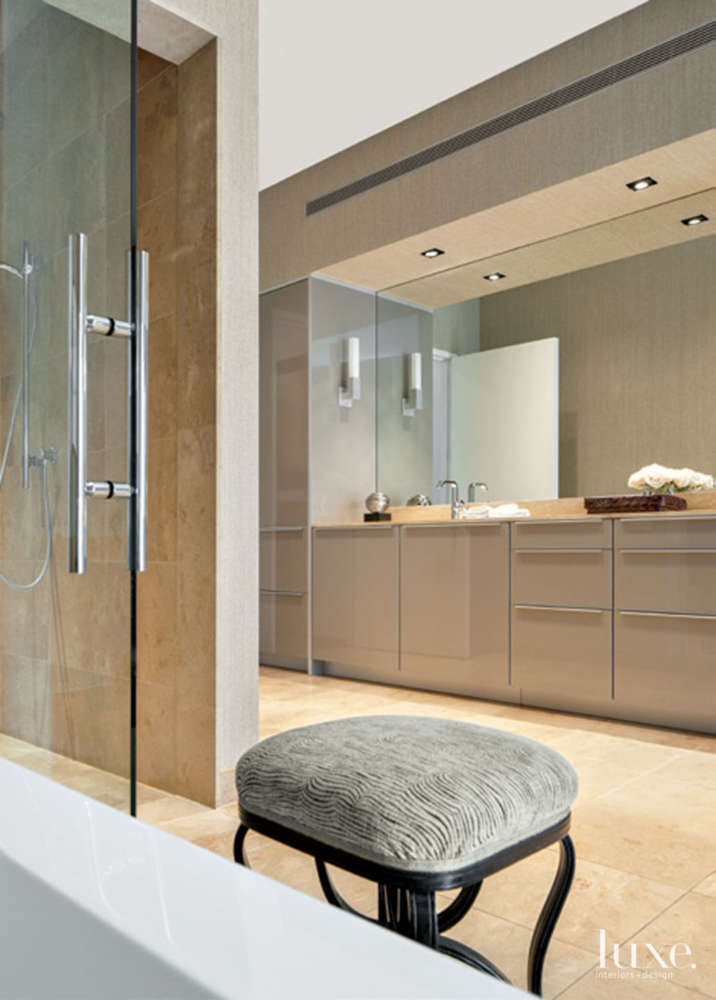 Contemporary Neutral Bathroom with Long Vanity