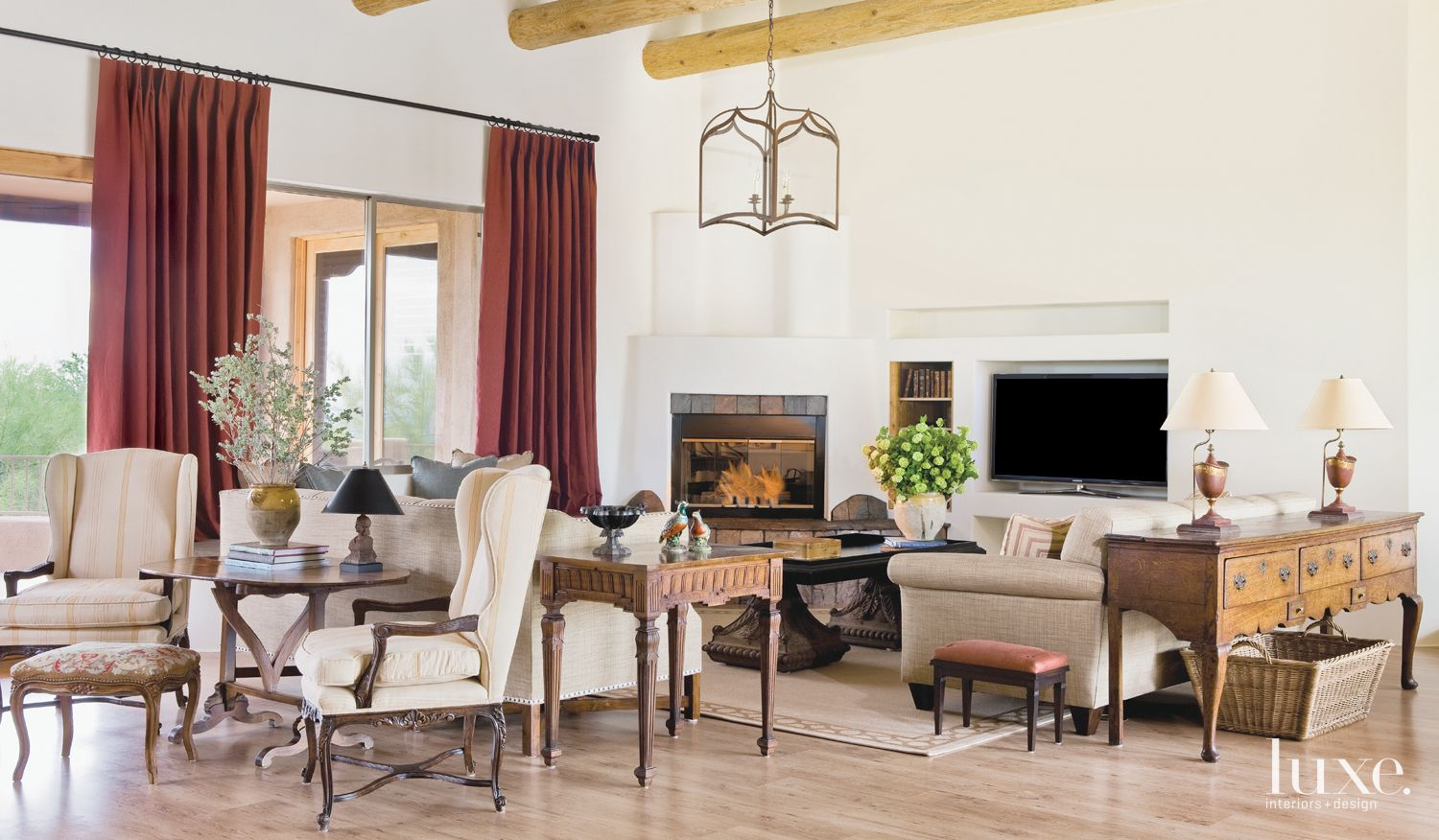 Country Cream Living Room with Rustic Finishes