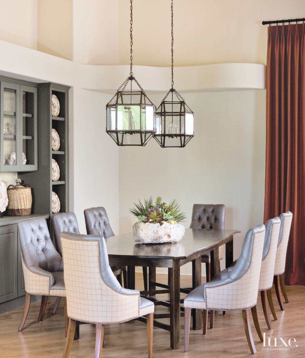 Country Cream Dining Room with Built-in Cabinets