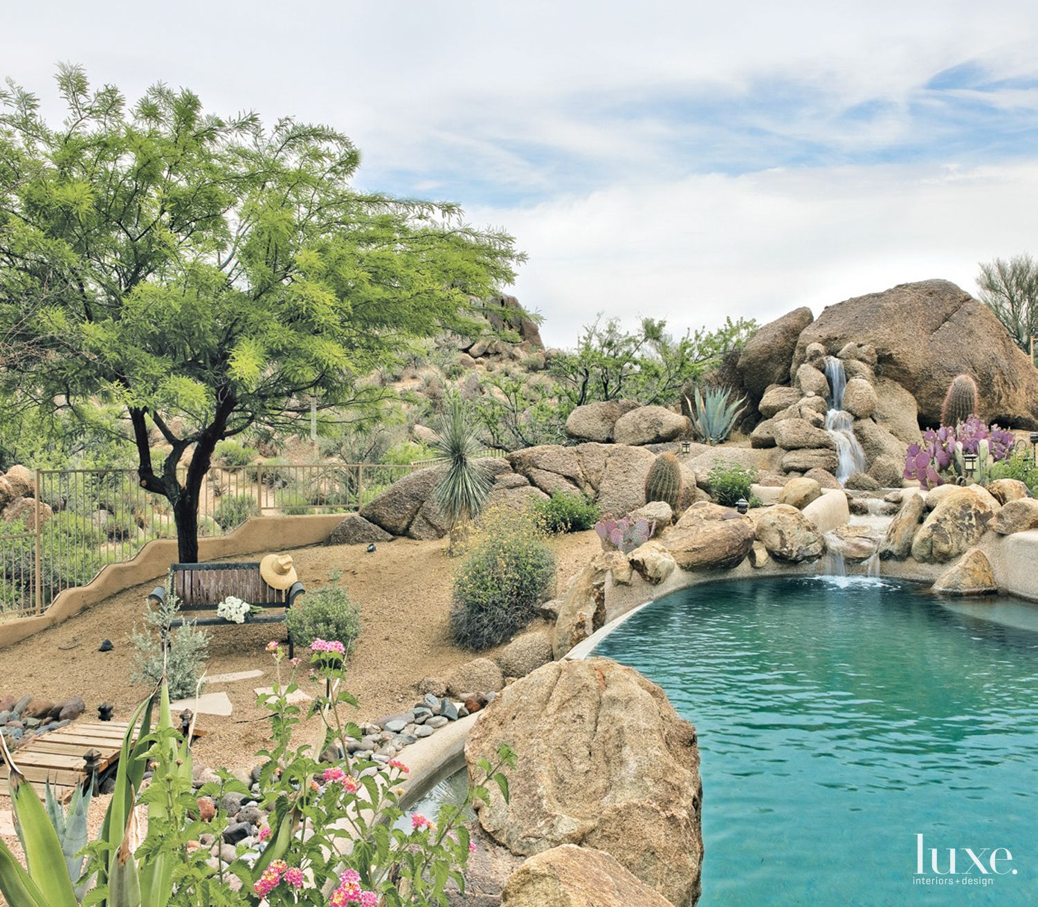Desert Pool Landscape with Waterfall