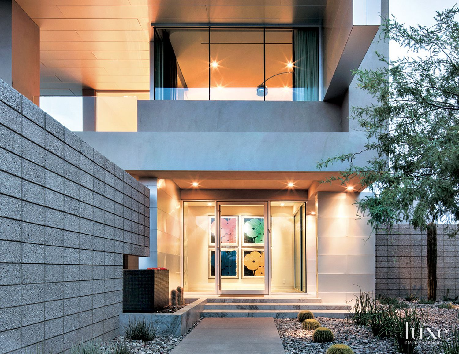 Modern Glass Entry with Water Feature