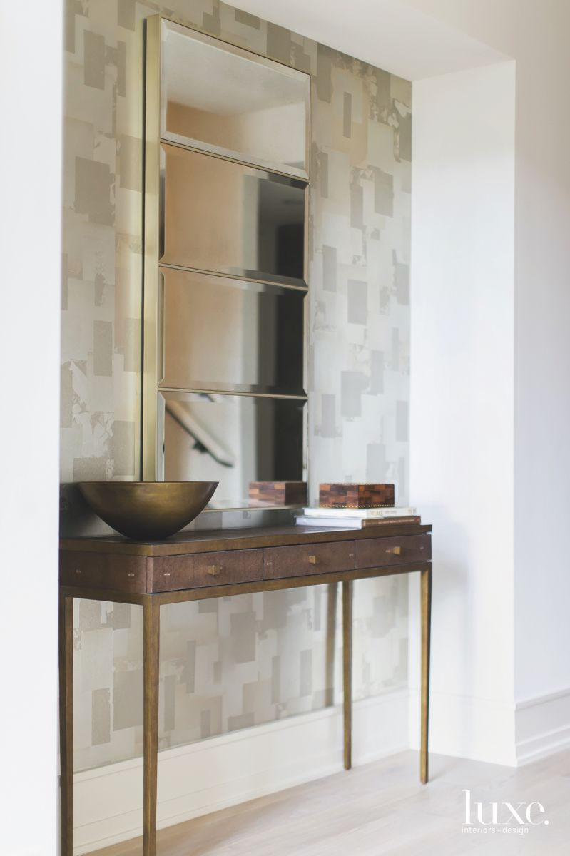 Geometric Mirror Entryway with Console and Patterned Wallpaper