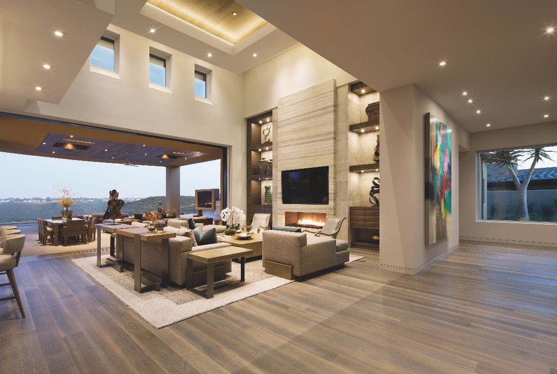 High Stacked Contemporary Ceiling Living Room with Clerestory Windows Television and Artwork