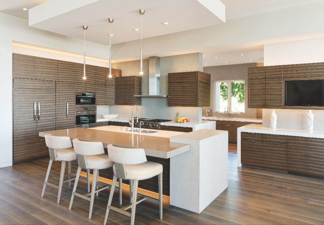 Sleek Striped Kitchen Cabinets with Seating Island and Lighting