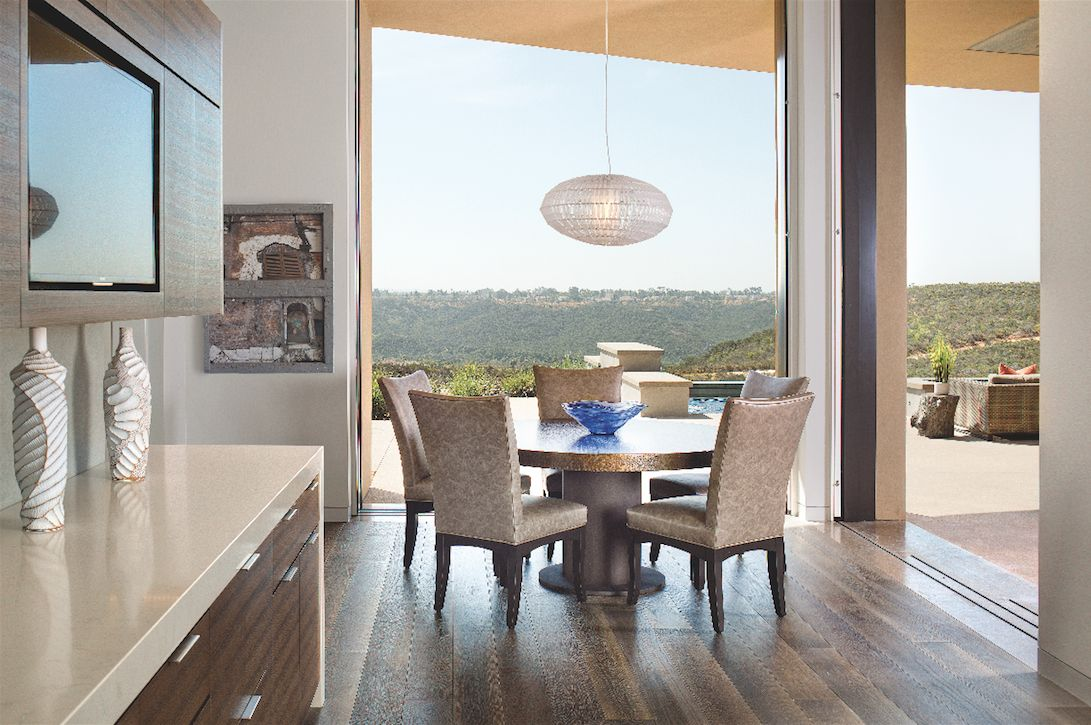 Descending Light Fixture Dining Area with Canyon Views