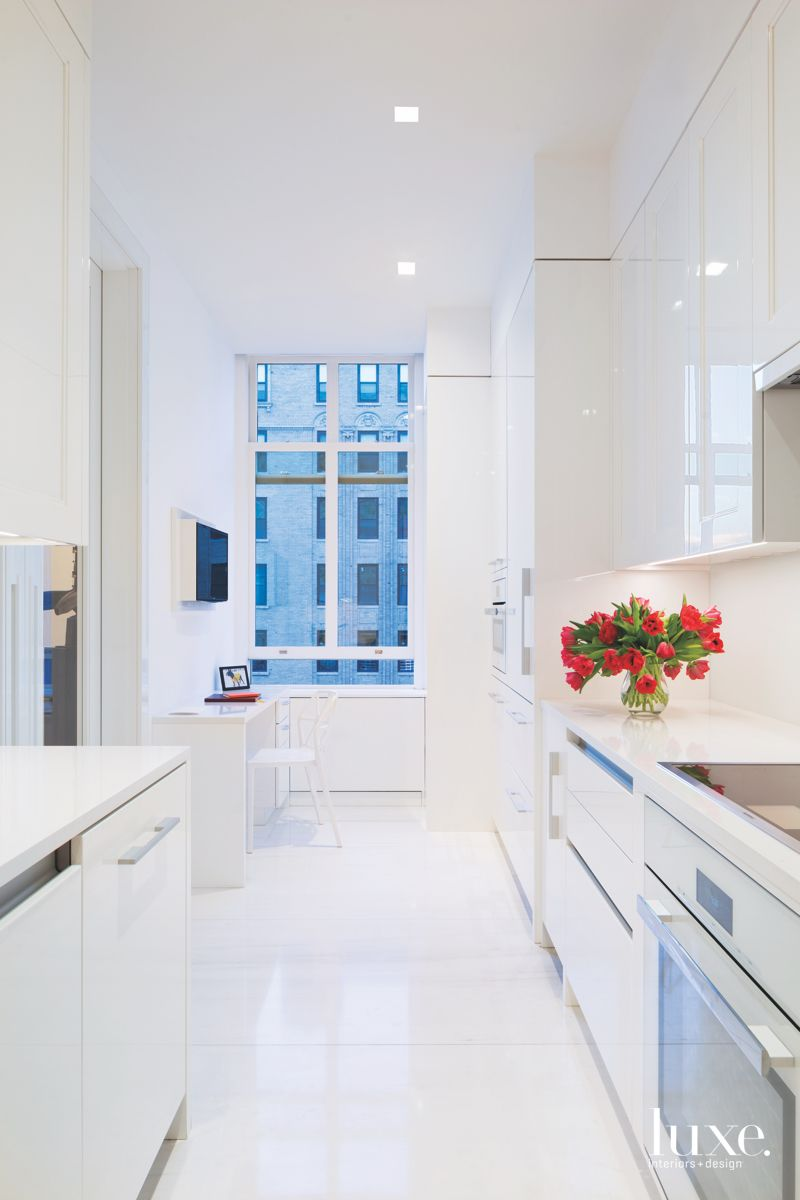 Sleek Shiny Lacquer All White Kitchen with