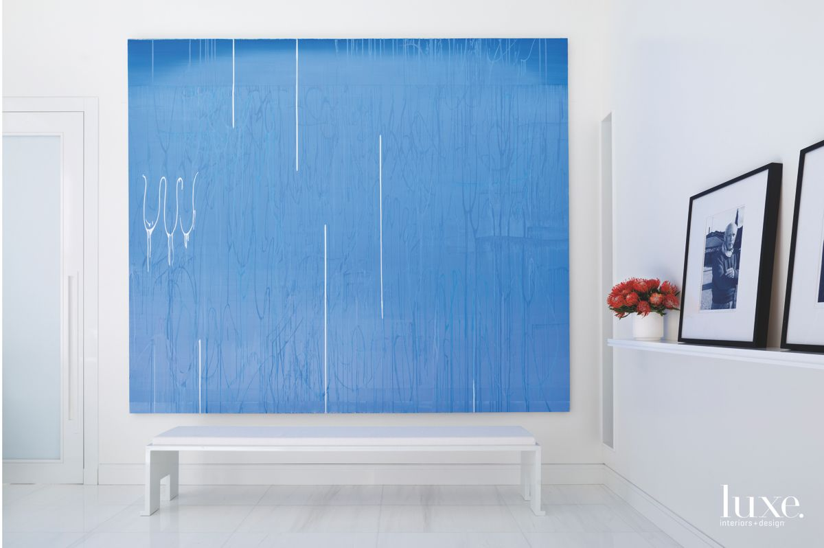 Calming Blue Abstract Artwork Master Bedroom