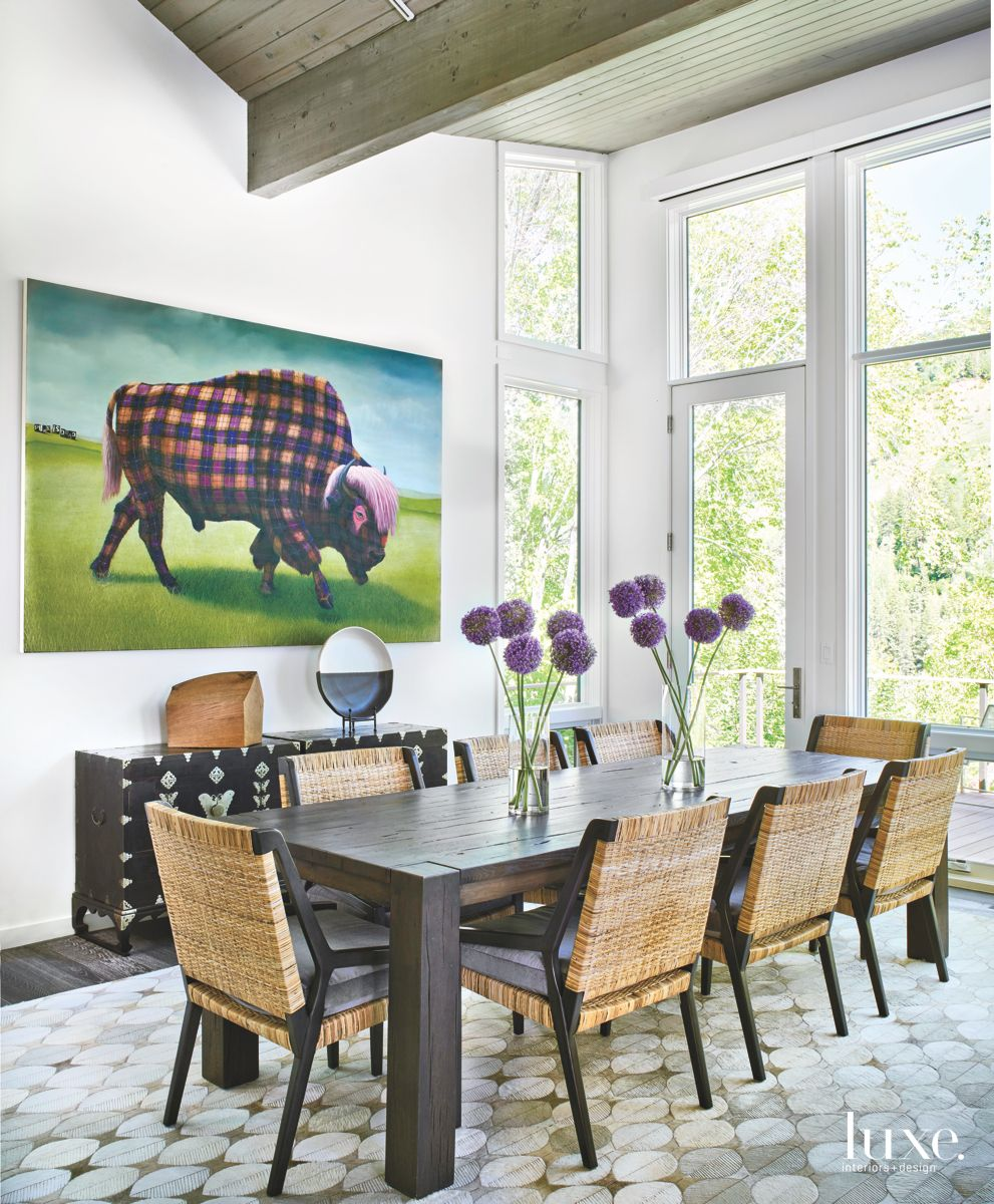 Buffalo Plaid Artwork Dining Room with Flowers