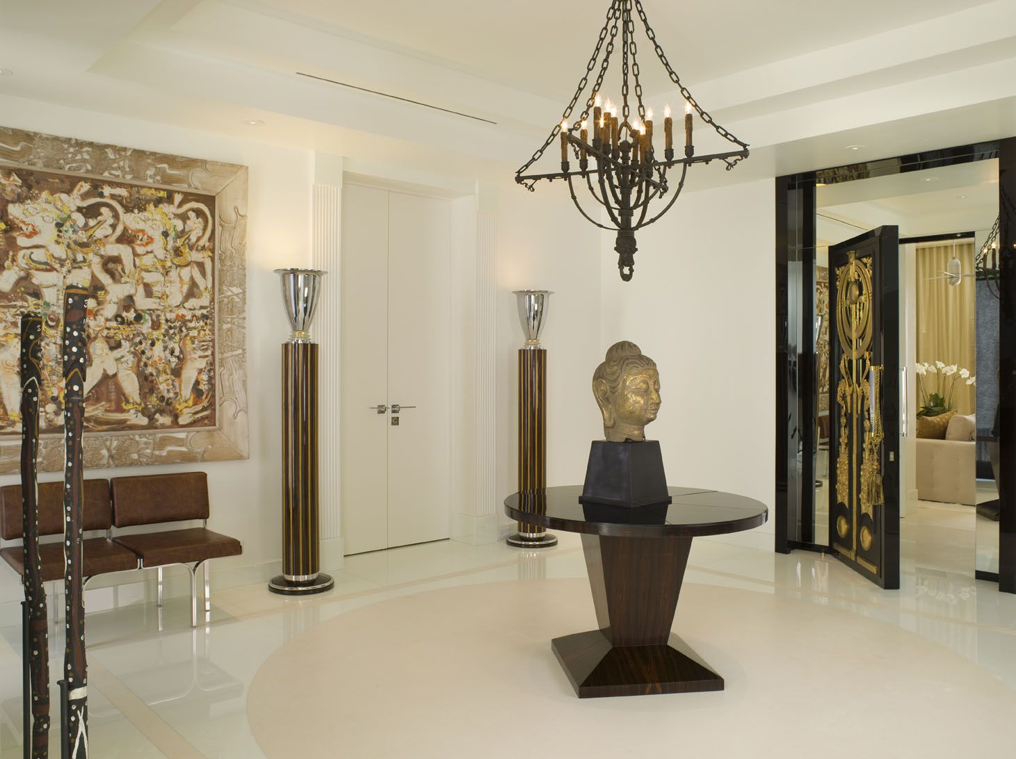 Modern Neutral Foyer with Buddha Head Statue