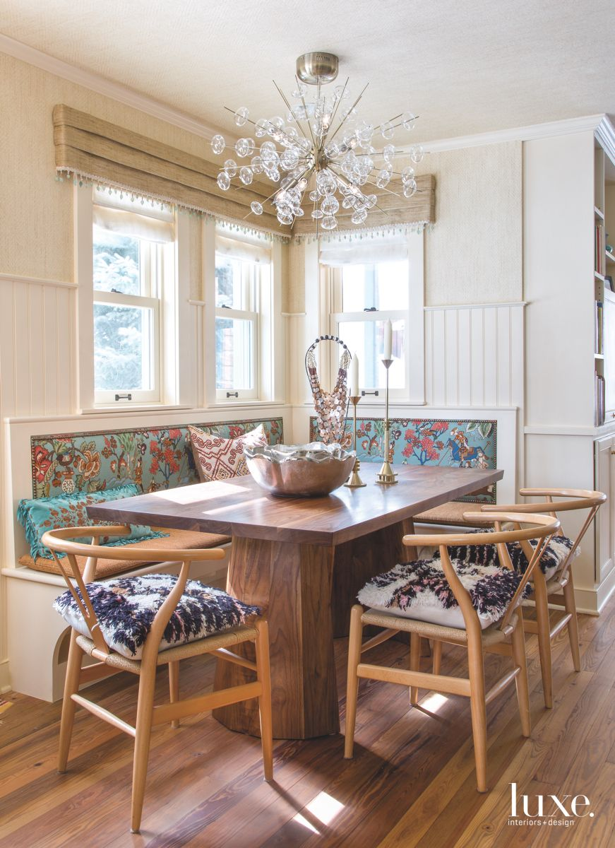 Bold Fabric Patterned Breakfast Nook Banquette and Fun Pillows
