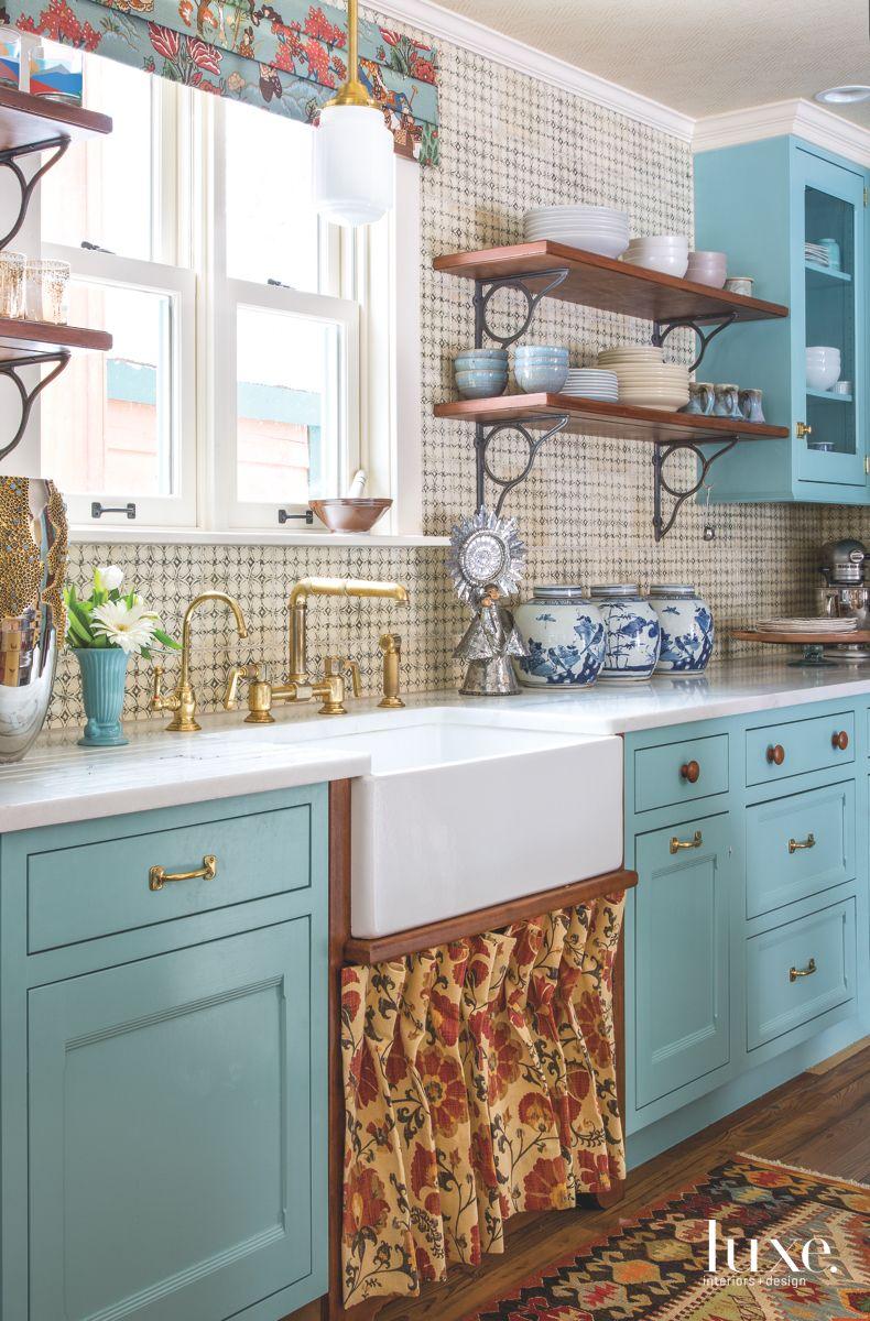 Blue Kitchen's Blacksplash Tile with Farmer's Sink