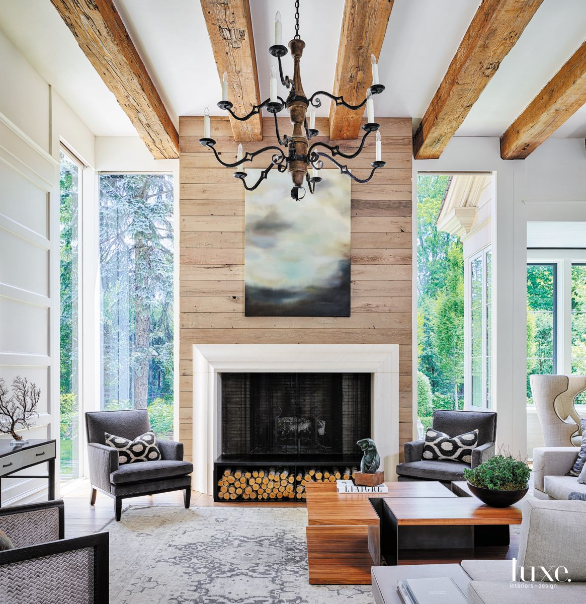Great Room for Living and Entertaining with Fireplace and Chandelier