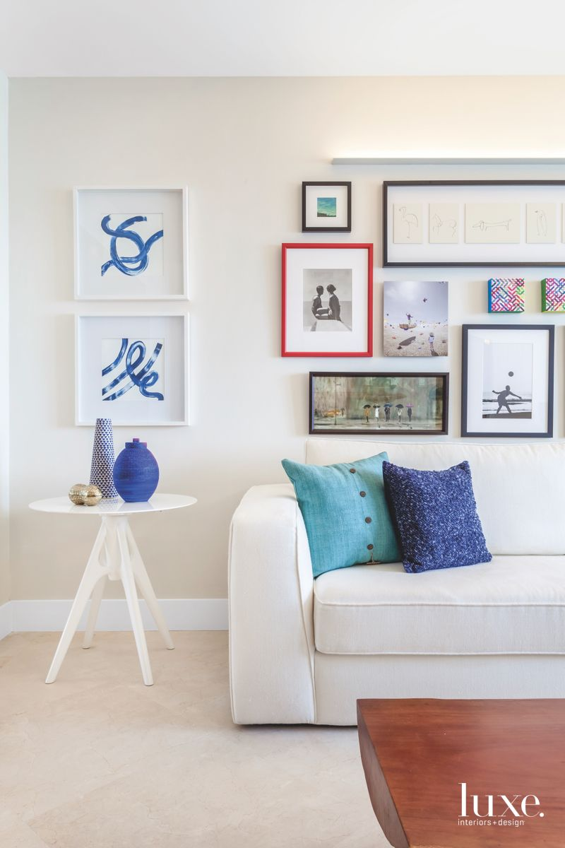 Blue and White Artful Living Room Vignette with Comfy Couch
