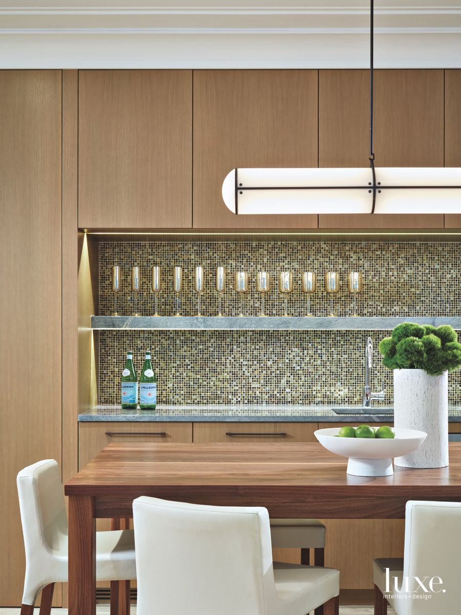Wooden Recreational Room with Pendant, Bar, and Wine Glasses