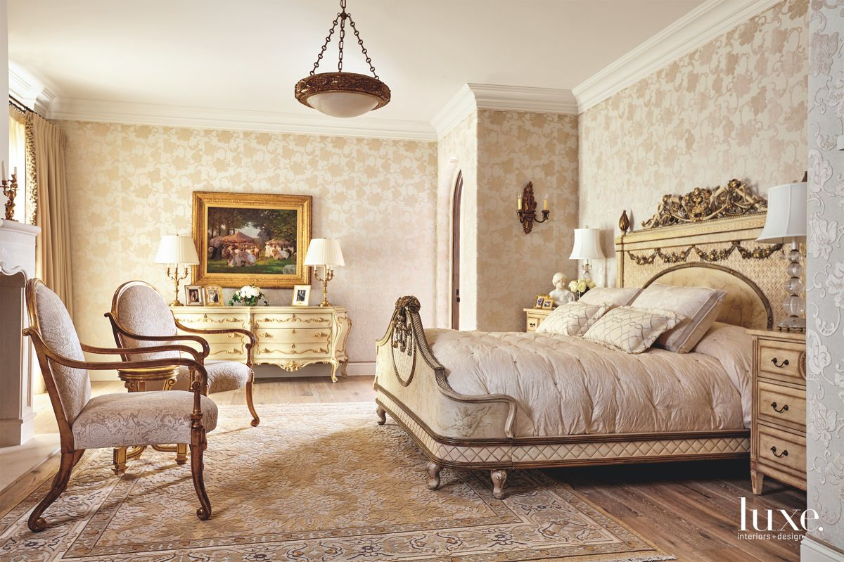 Cream Master Bedroom Damask Fabric Flock Wallpaper with Custom Furniture and Fireplace