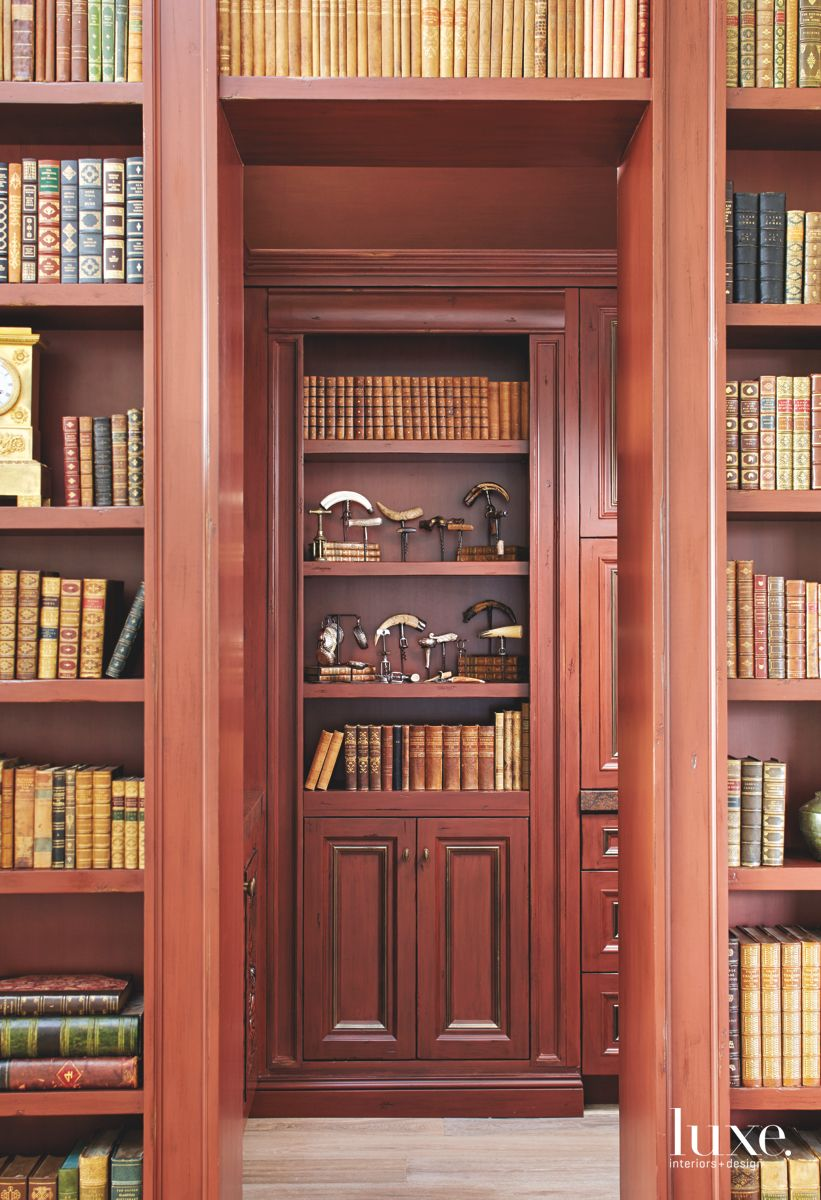Red Library Full of Books and Antiques