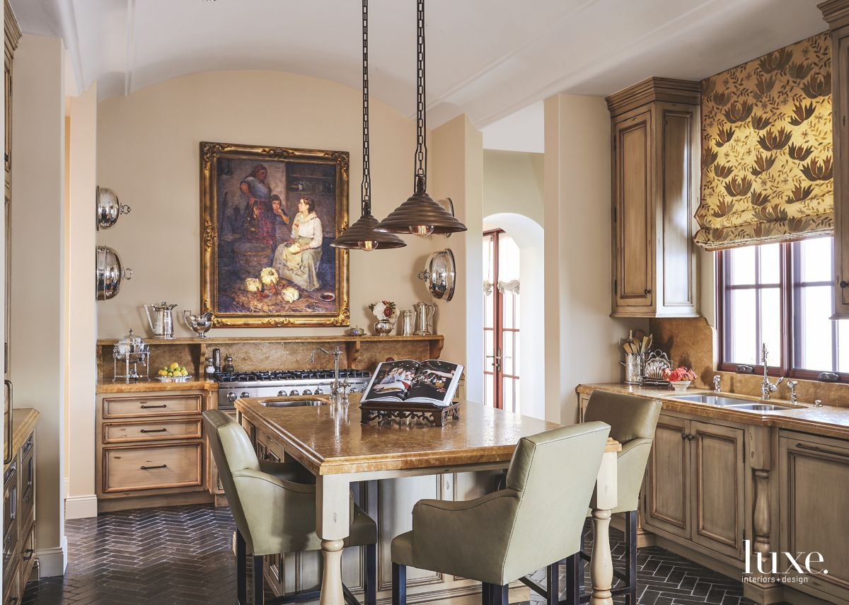 Russian Artwork Elevated Eat In Kitchen Dining Area