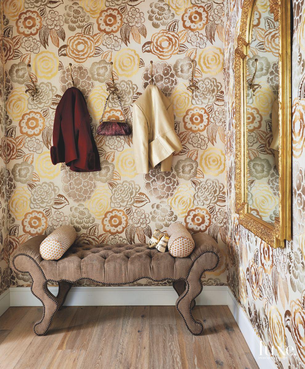 Antique Mudroom with Warm Color Floral Wallpaper