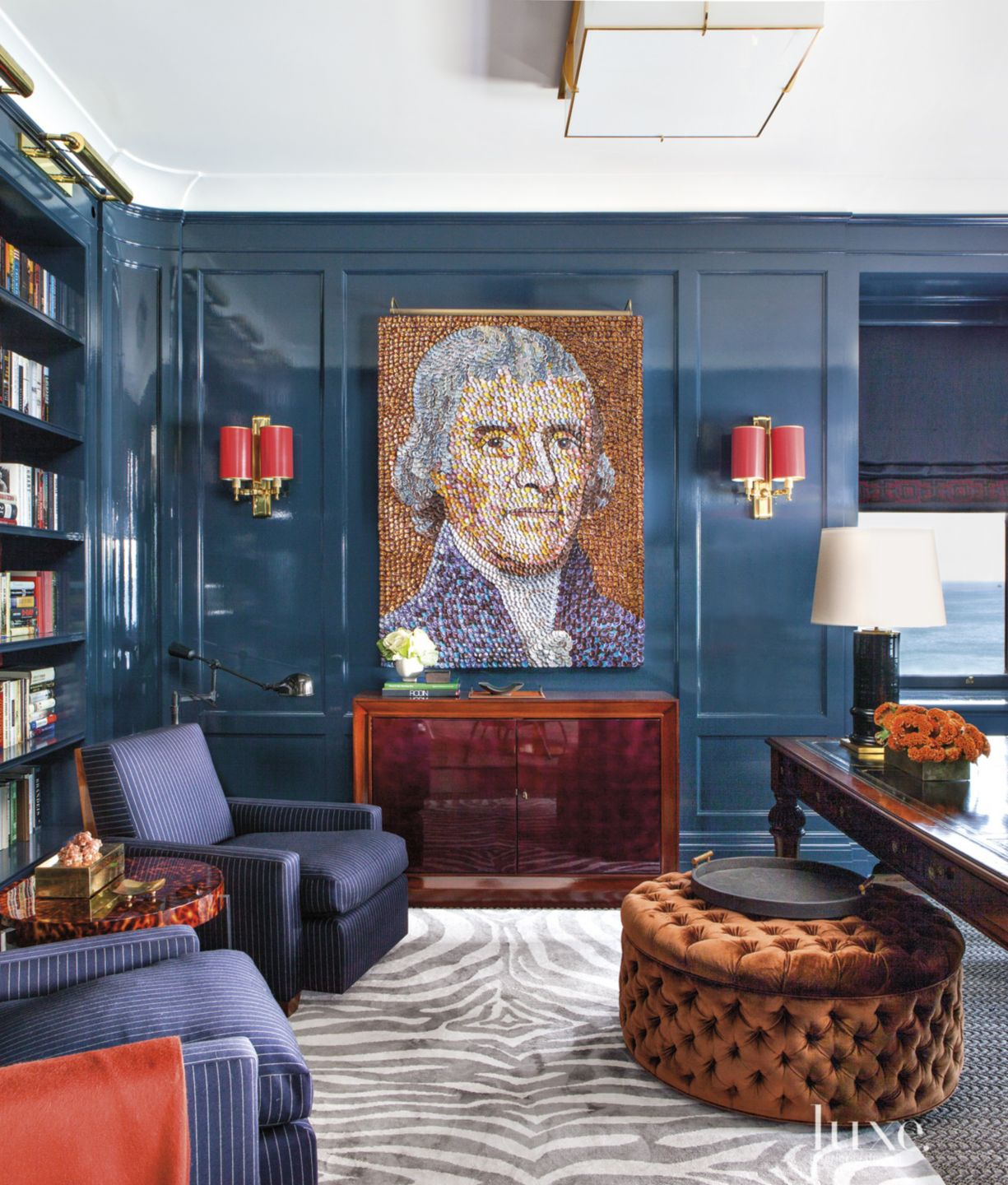 Eclectic Blue Office with Navy Blue-Lacquered Paneling