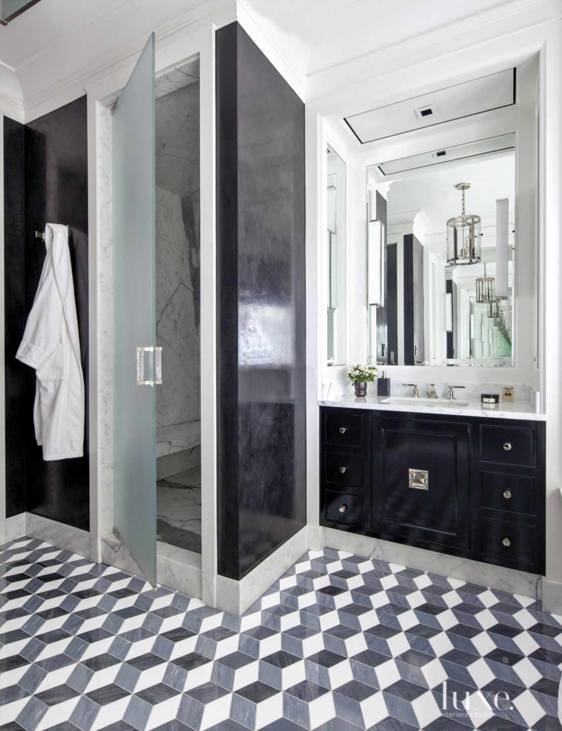 Eclectic White Bathroom with Black Accent Wall