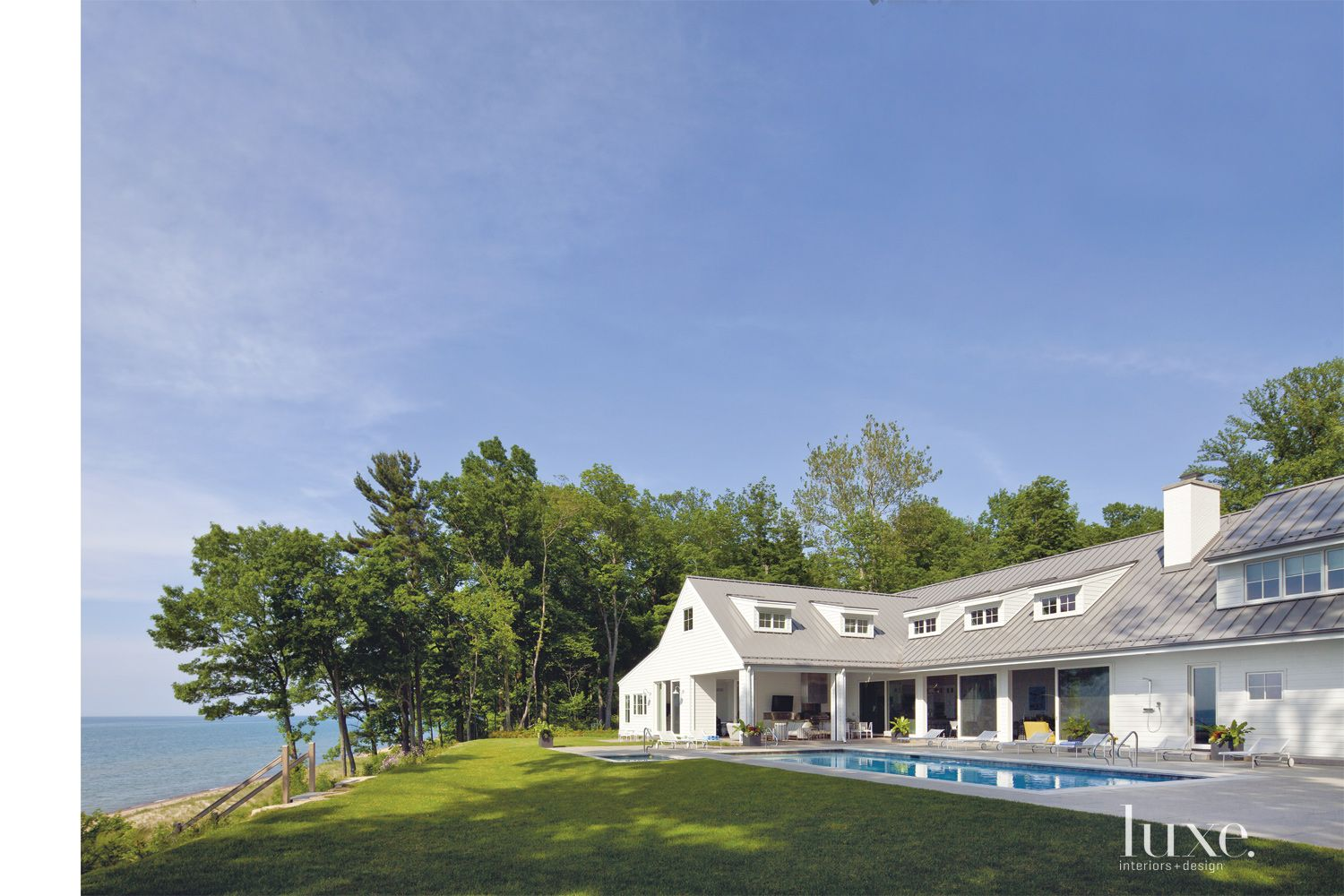 Contemporary White Exterior with Lake Access