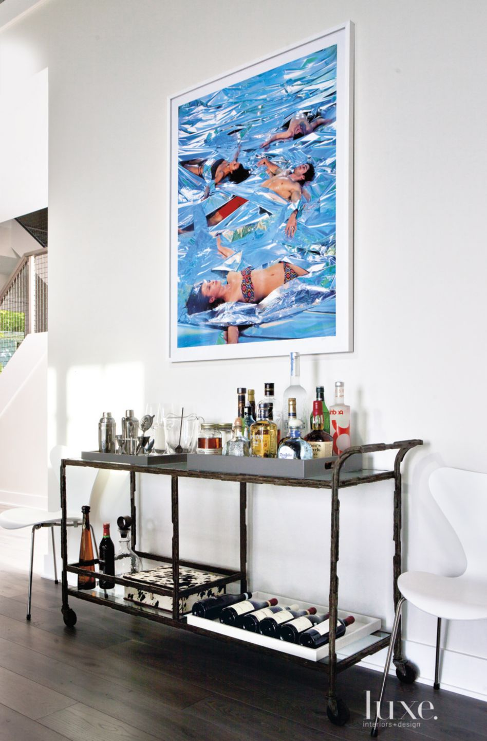 Contemporary White Hall Detail with Bar Cart
