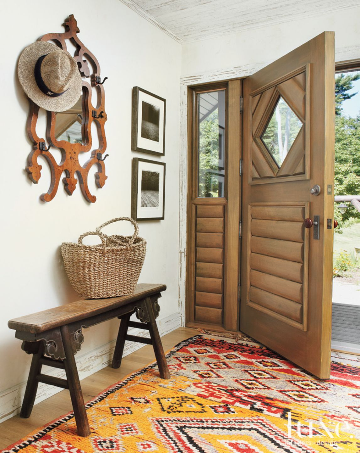 Country White Foyer with Moroccan Rug