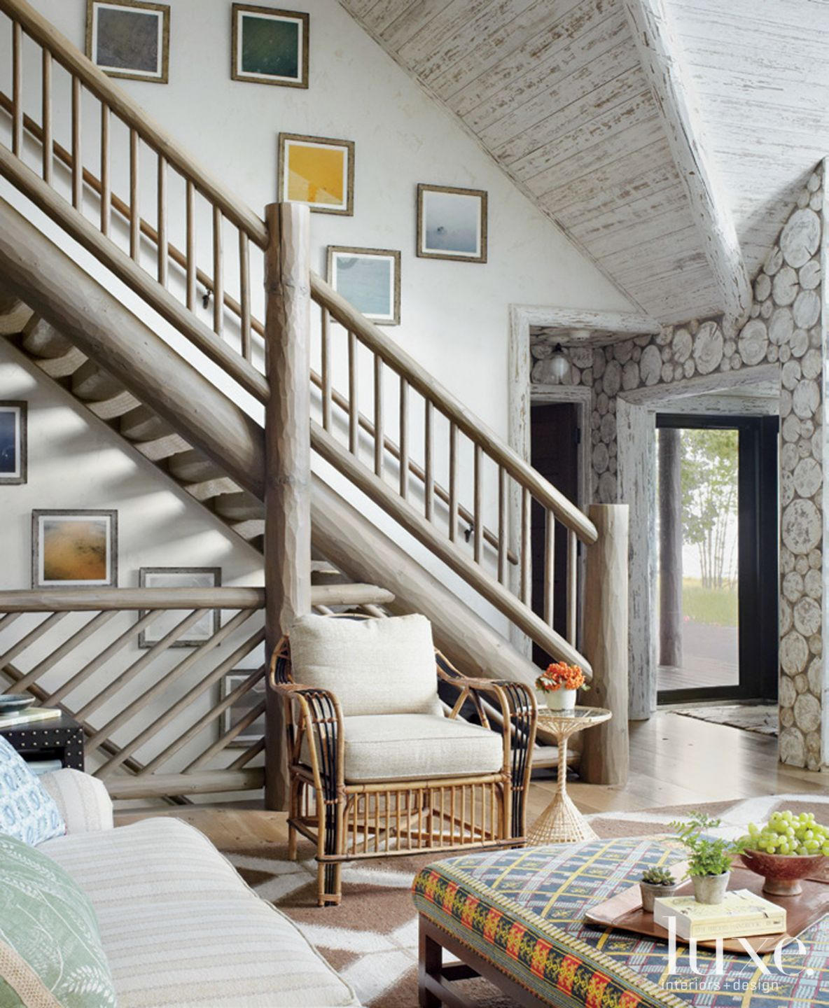 Country White Great Room with Staircase