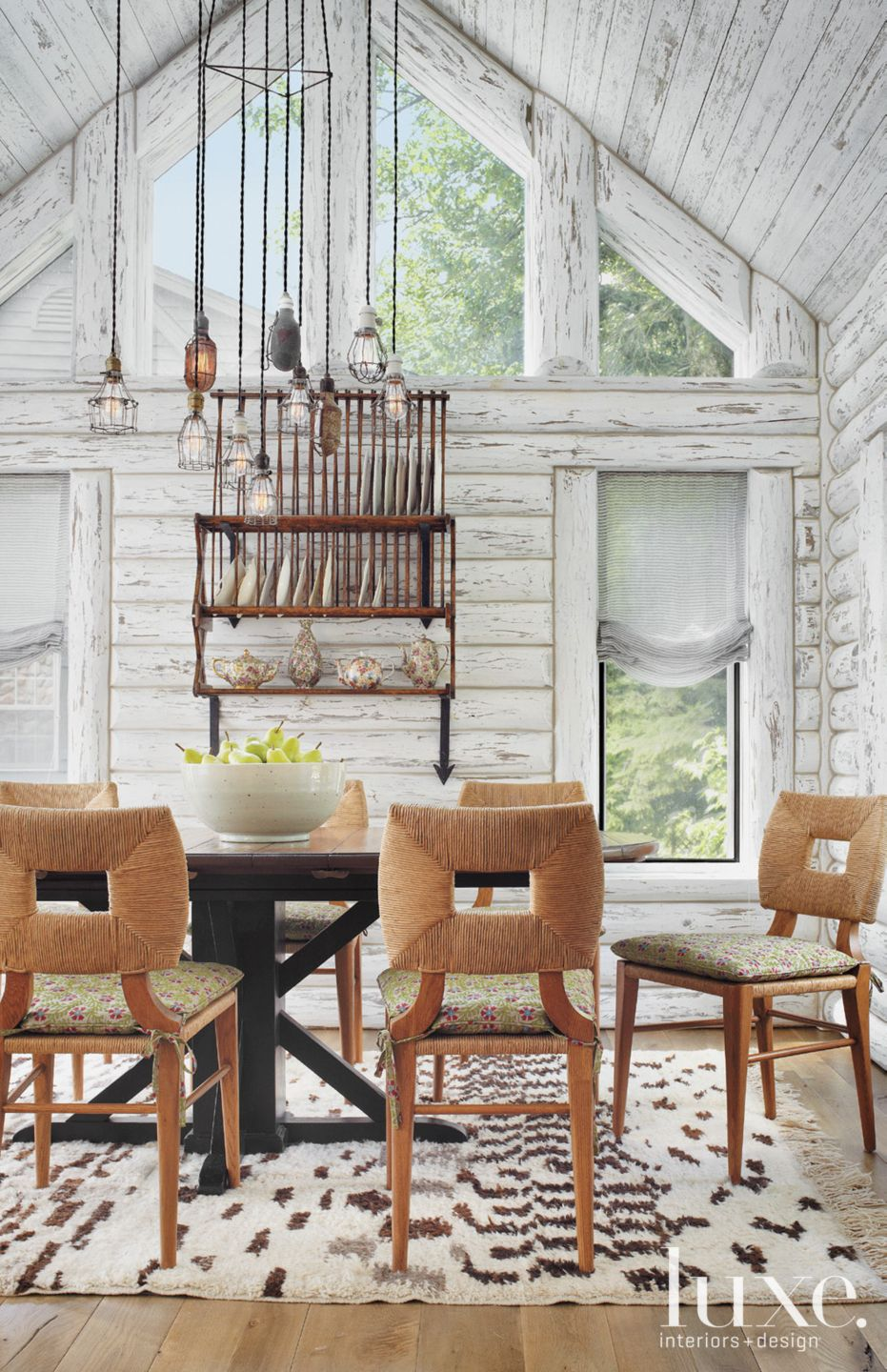 Country White Dining Room with Vaulted Ceiling