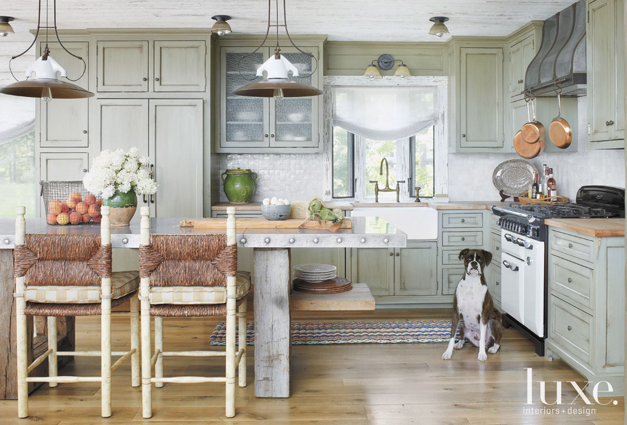 Country Green Kitchen with Tile Backsplash
