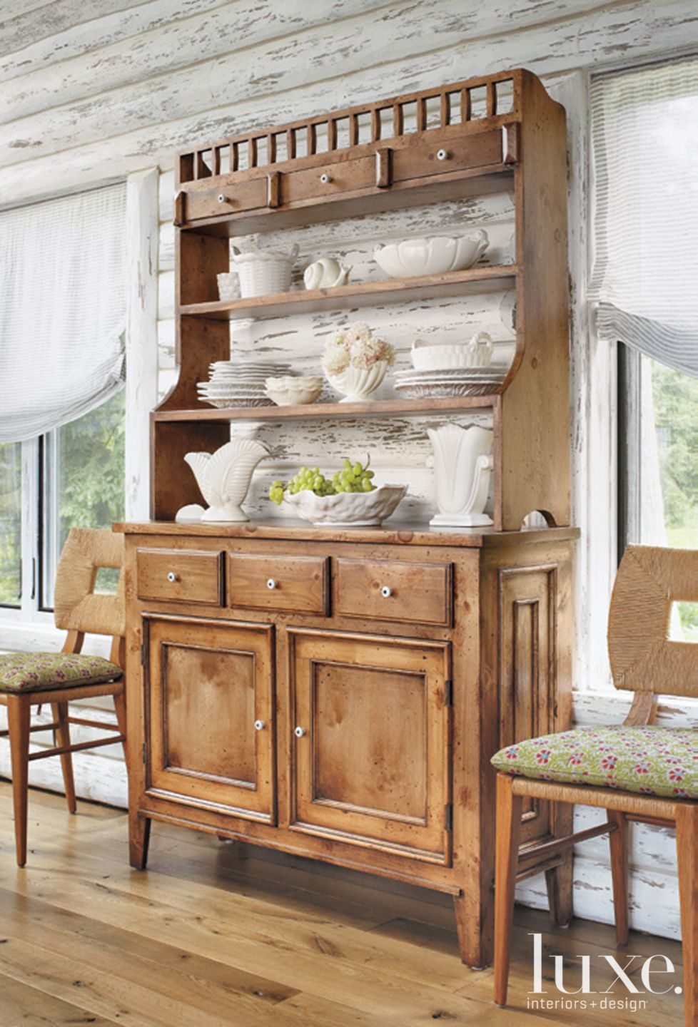 Country White Dining Room Detail with Pine Hutch