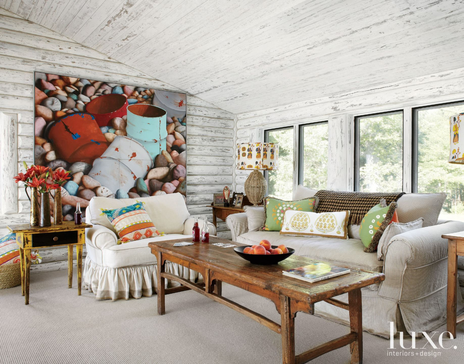 Country White Loft Space with Slanted Ceiling