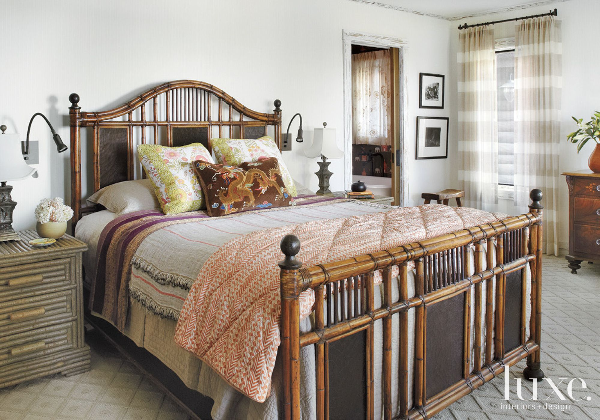 Country White Bedroom with Multicolored Accent Pillows