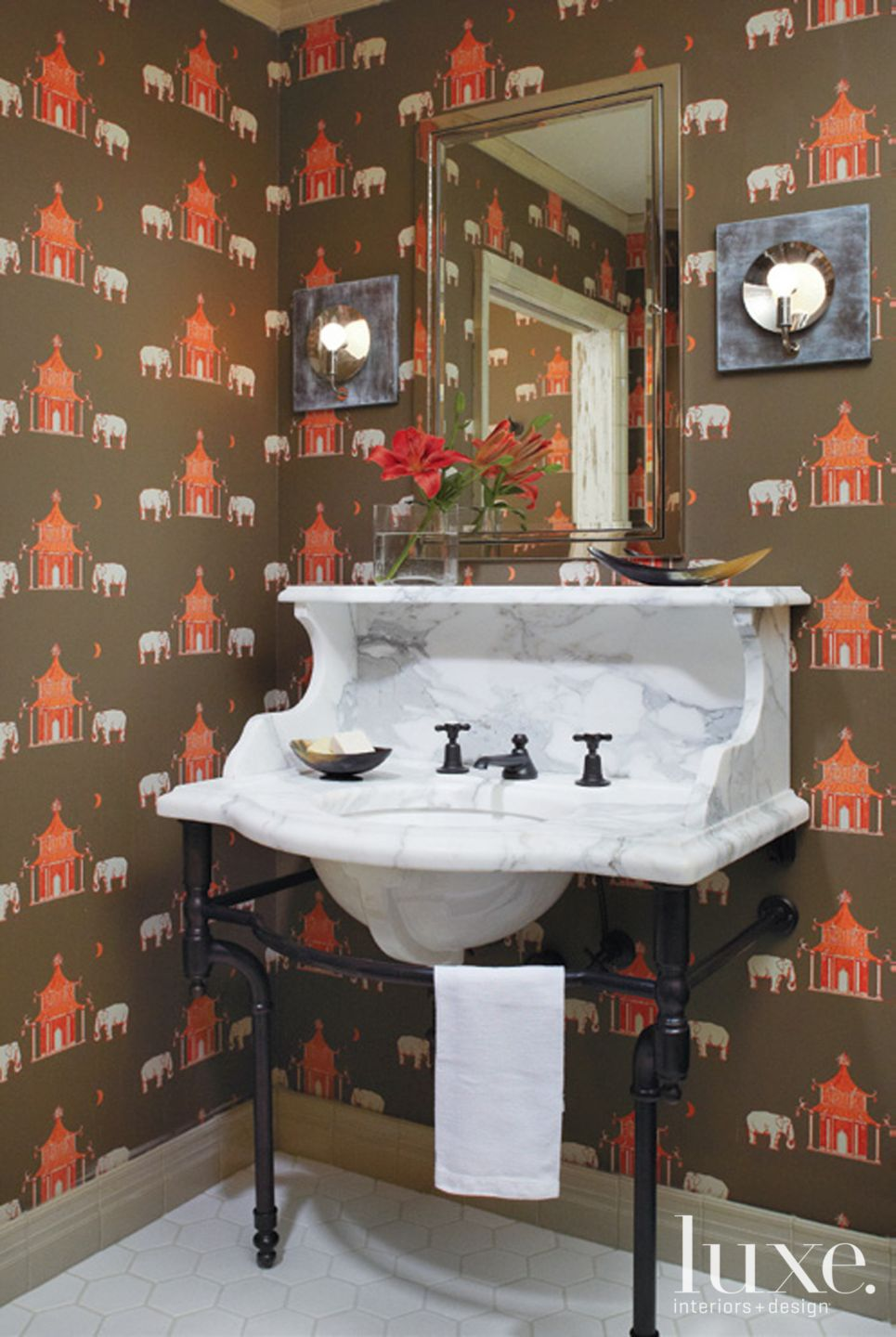 Country Brown Bathroom with Victorian Influences