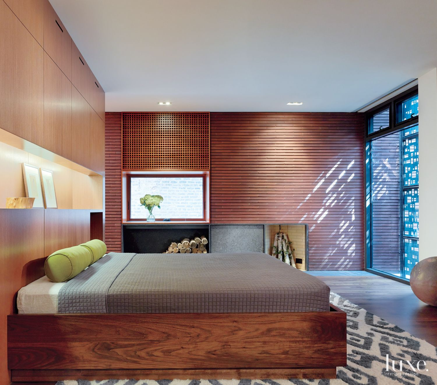 Modern Neutral Bedroom with Walnut Bed Frame