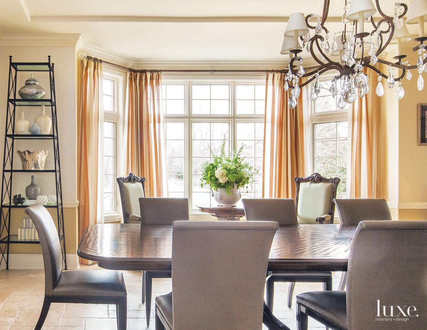 Transitional Cream Dining Room with Custom Table