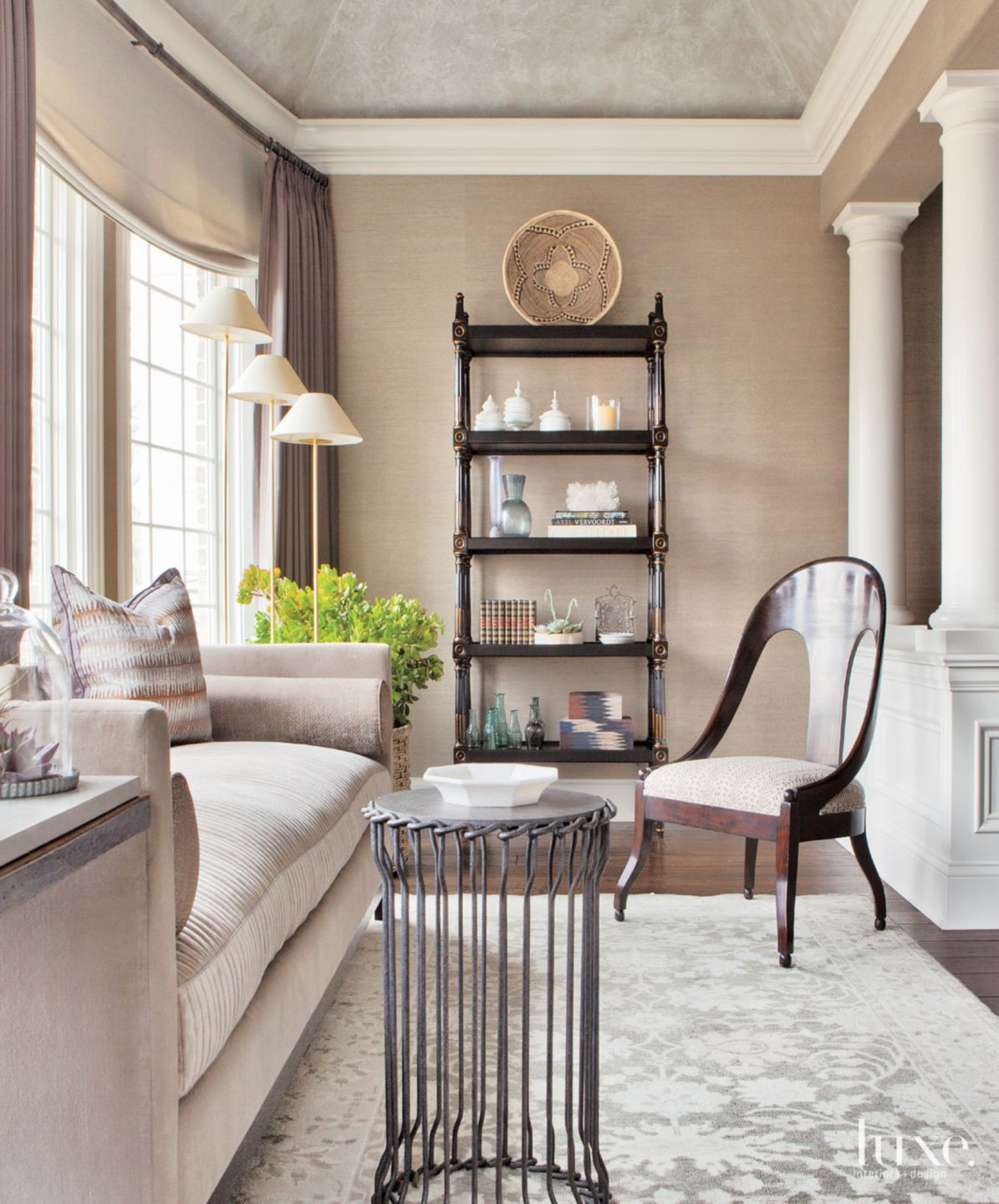 Transitional Neutral Sitting Area with French Windows
