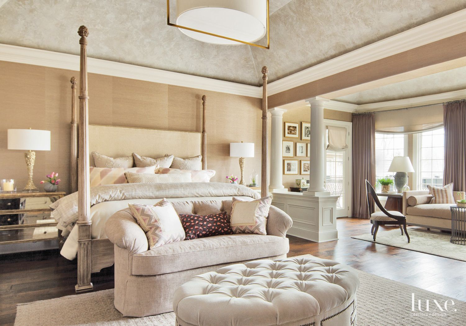 Transitional Neutral Bedroom with Recessed Ceiling